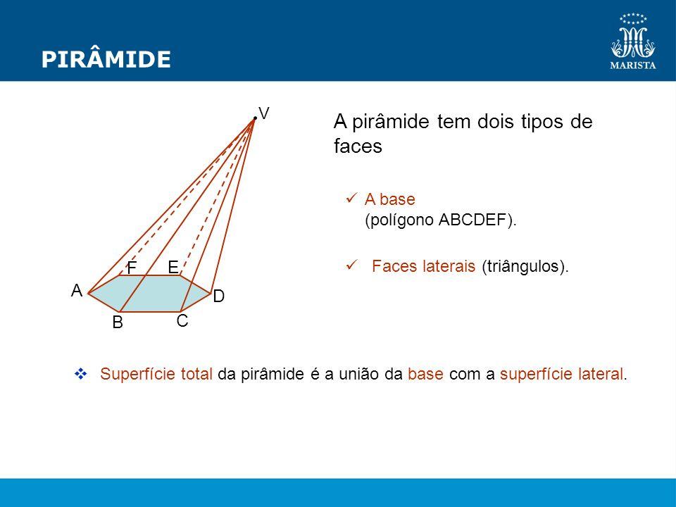 PIRÂMIDE A pirâmide tem dois tipos de faces A base (polígono ABCDEF). Faces laterais (triângulos). Superfície total da pirâmide é a união da base com
