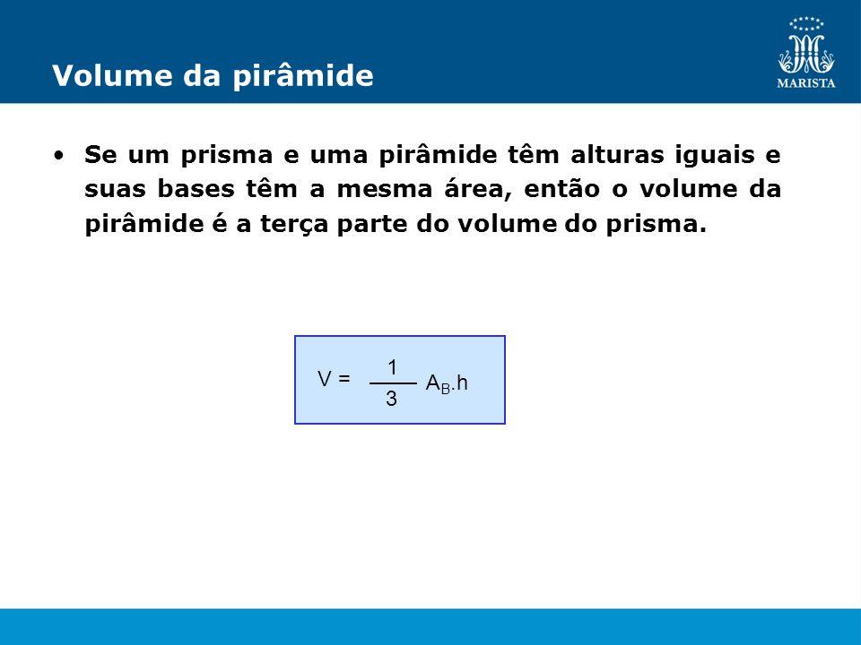 Volume da pirâmide Se um prisma e uma pirâmide têm alturas iguais e suas bases têm a mesma área, então o volume da pirâmide é a terça parte do volume