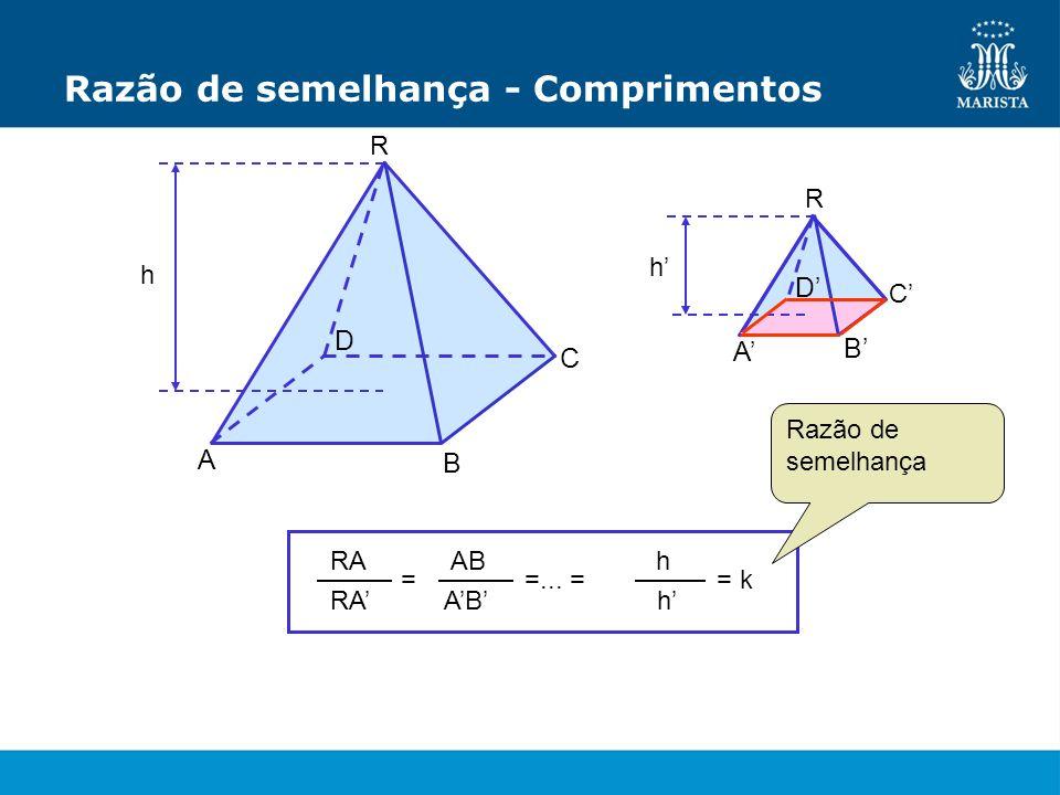 Razão de semelhança - Comprimentos R C A h D R A B C D h B = RA AB =... = h h = k Razão de semelhança