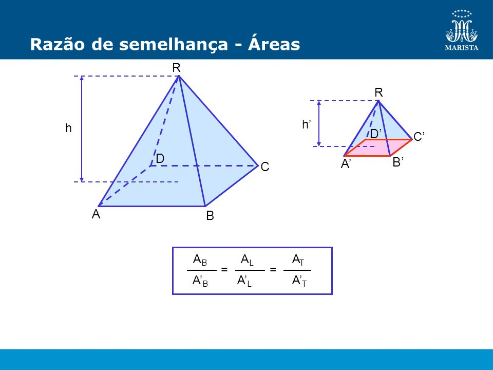 Razão de semelhança - Áreas R C A h D R A B C D h B = ABAB ABAB ALAL ALAL = ATAT ATAT