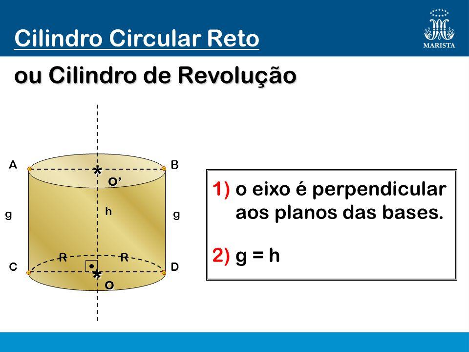 Cilindro Circular Reto O* gg h 1) o eixo é perpendicular aos planos das bases. R DC ou Cilindro de Revolução R BA O* 2) g = h