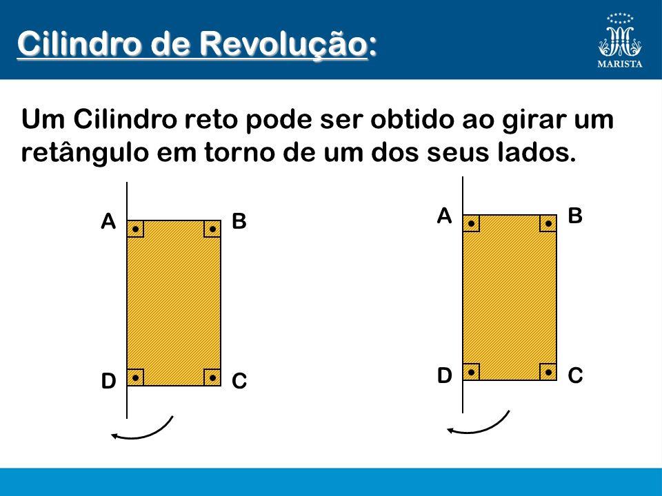 AB DC AB DC Cilindro de Revolução: Um Cilindro reto pode ser obtido ao girar um retângulo em torno de um dos seus lados.