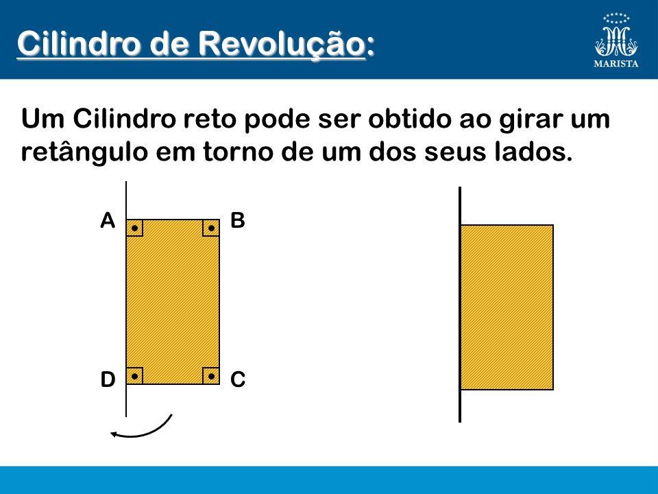 AB DC Cilindro de Revolução: Um Cilindro reto pode ser obtido ao girar um retângulo em torno de um dos seus lados.