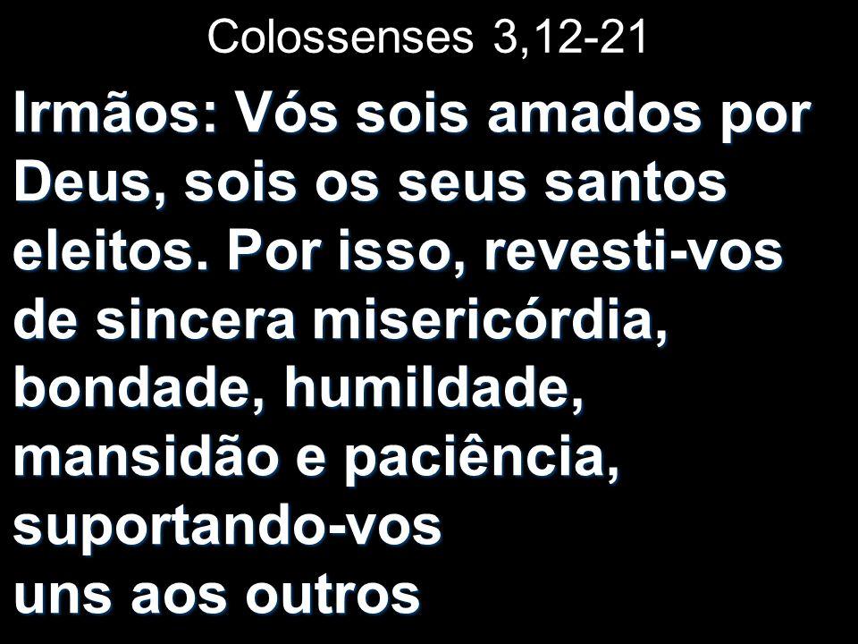 Colossenses 3,12-21 Irmãos: Vós sois amados por Deus, sois os seus santos eleitos. Por isso, revesti-vos de sincera misericórdia, bondade, humildade,