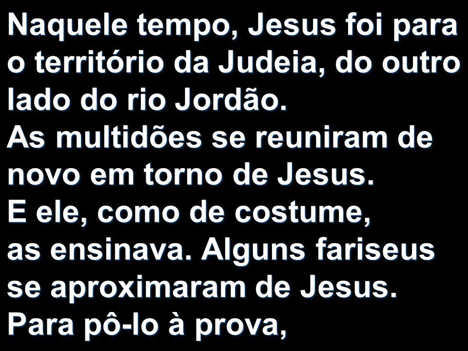 Naquele tempo, Jesus foi para o território da Judeia, do outro lado do rio Jordão. As multidões se reuniram de novo em torno de Jesus. E ele, como de