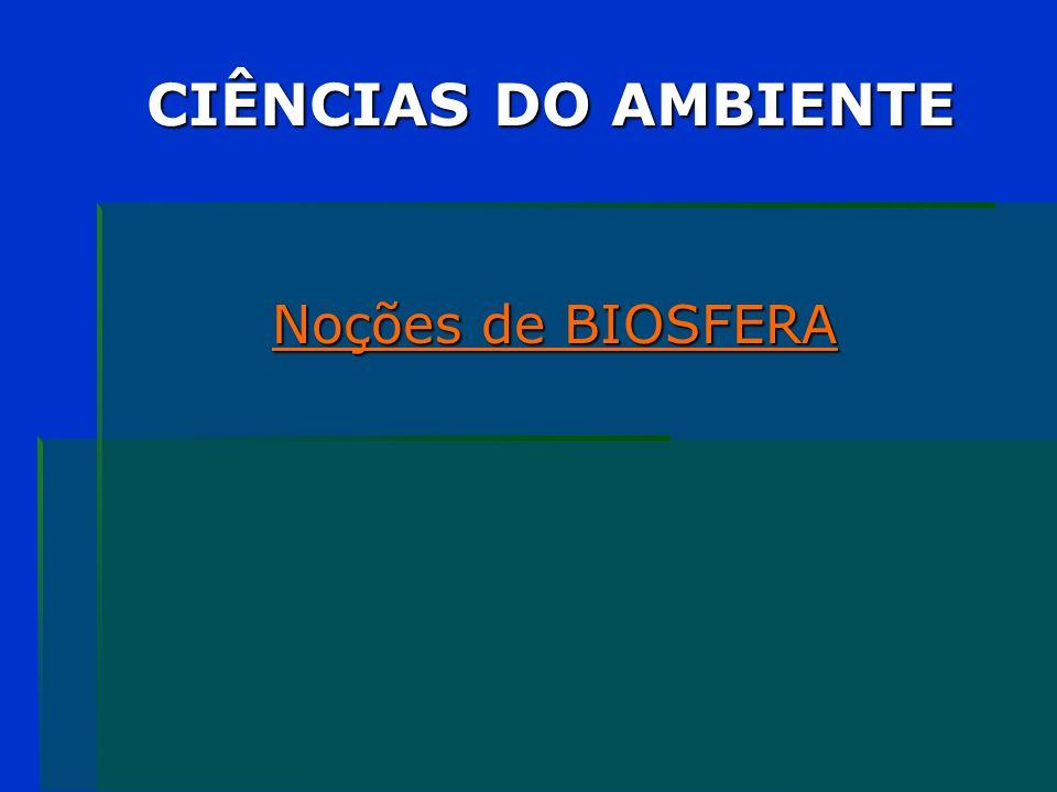 BIOSFERA / ECOSFERA Região do planeta que contém o conjunto dos seres vivos e na qual a vida é permanentemente possível.