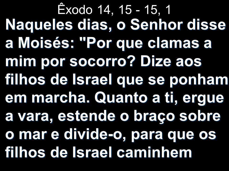 Êxodo 14, 15 - 15, 1 Naqueles dias, o Senhor disse a Moisés: Por que clamas a mim por socorro.