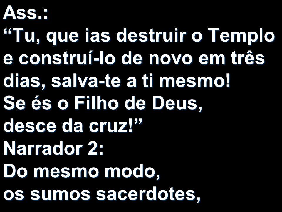 Ass.: Tu, que ias destruir o Templo e construí-lo de novo em três dias, salva-te a ti mesmo! Se és o Filho de Deus, desce da cruz! Narrador 2: Do mesm