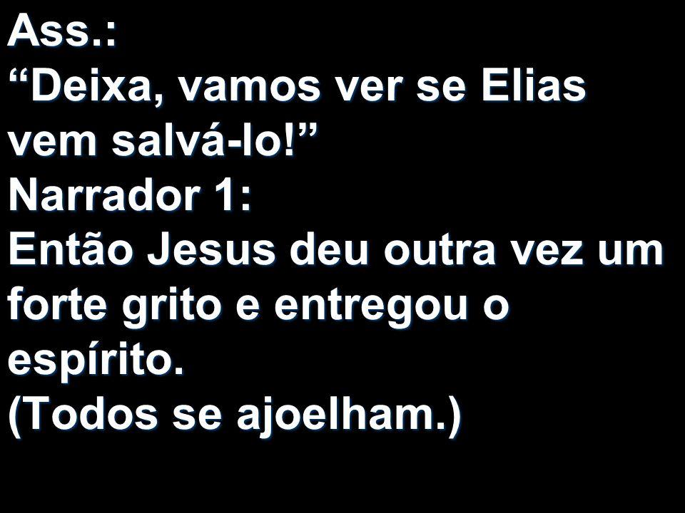 Ass.: Deixa, vamos ver se Elias vem salvá-lo! Narrador 1: Então Jesus deu outra vez um forte grito e entregou o espírito. (Todos se ajoelham.)