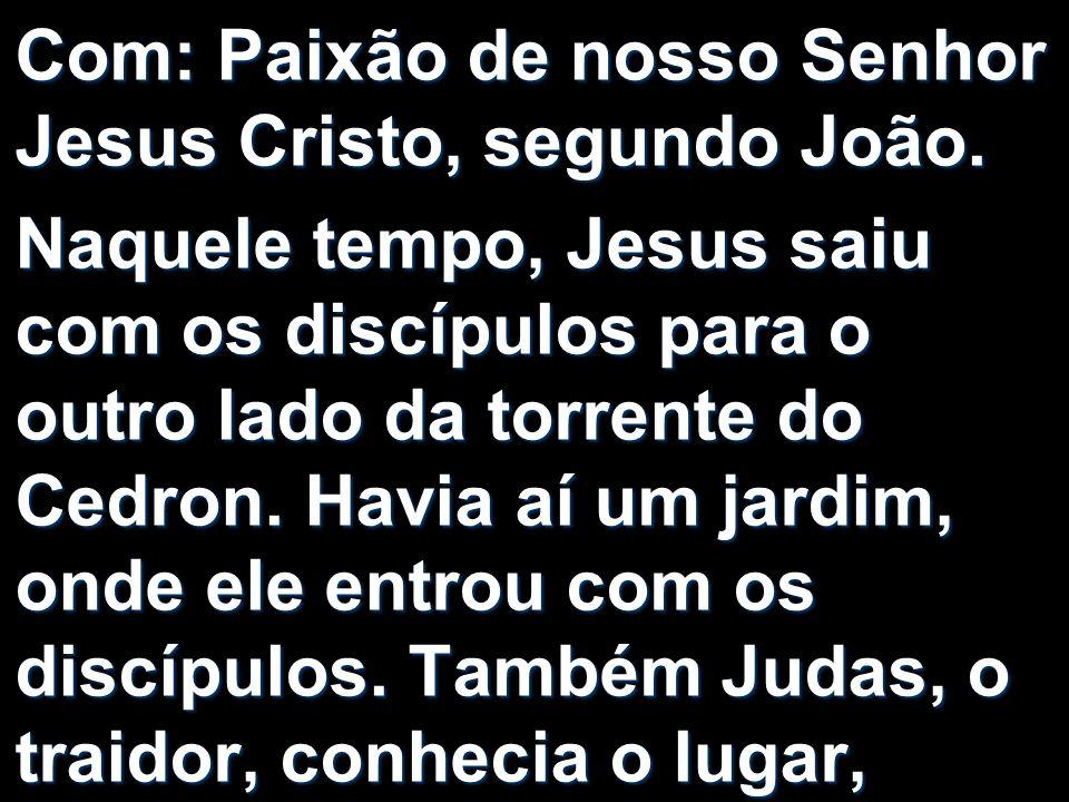 Com: Paixão de nosso Senhor Jesus Cristo, segundo João. Naquele tempo, Jesus saiu com os discípulos para o outro lado da torrente do Cedron. Havia aí