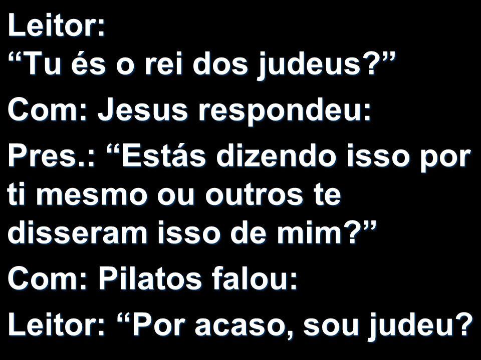 Leitor: Tu és o rei dos judeus? Com: Jesus respondeu: Pres.: Estás dizendo isso por ti mesmo ou outros te disseram isso de mim? Com: Pilatos falou: Le