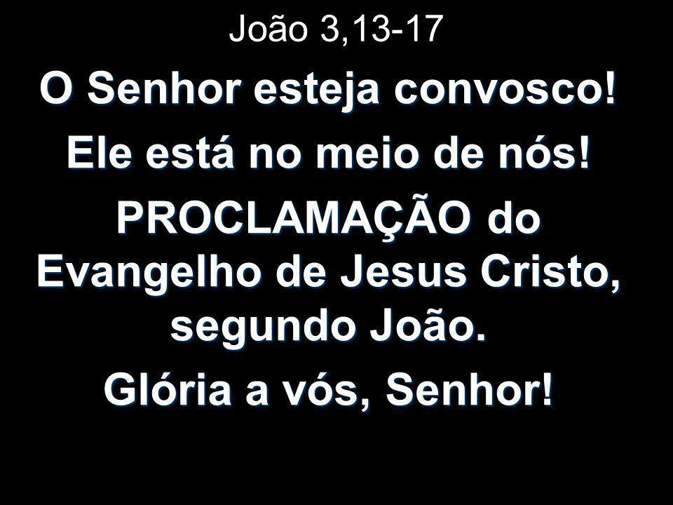 João 3,13-17 O Senhor esteja convosco! Ele está no meio de nós! PROCLAMAÇÃO do Evangelho de Jesus Cristo, segundo João. Glória a vós, Senhor!