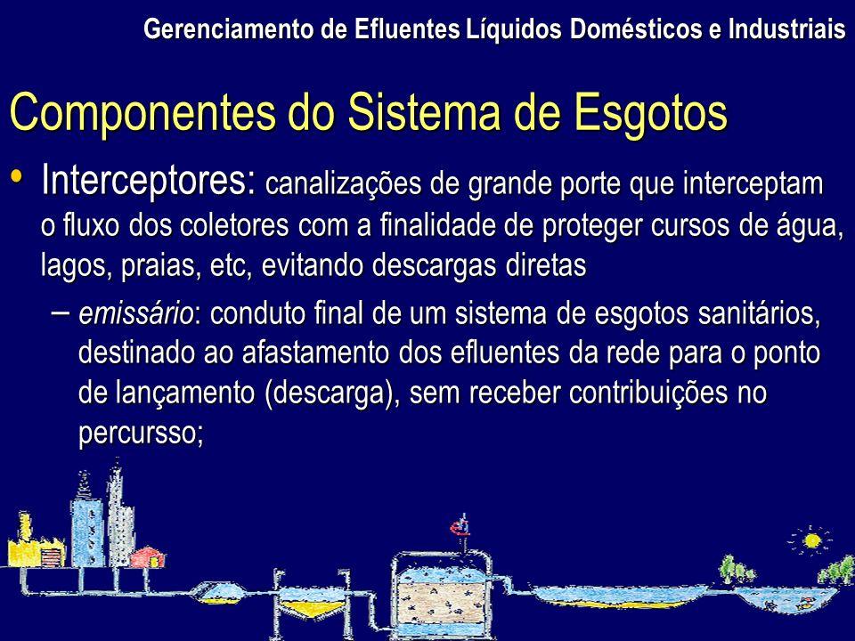 Gerenciamento de Efluentes Líquidos Domésticos e Industriais Interceptores: canalizações de grande porte que interceptam o fluxo dos coletores com a f