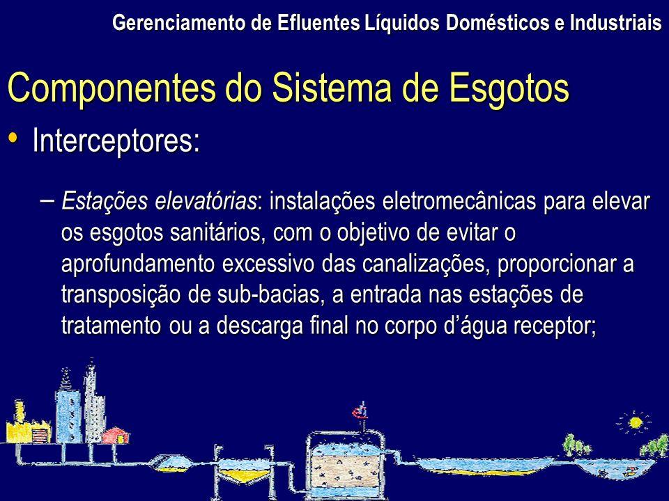 Gerenciamento de Efluentes Líquidos Domésticos e Industriais Interceptores: Interceptores: – Estações elevatórias : instalações eletromecânicas para e