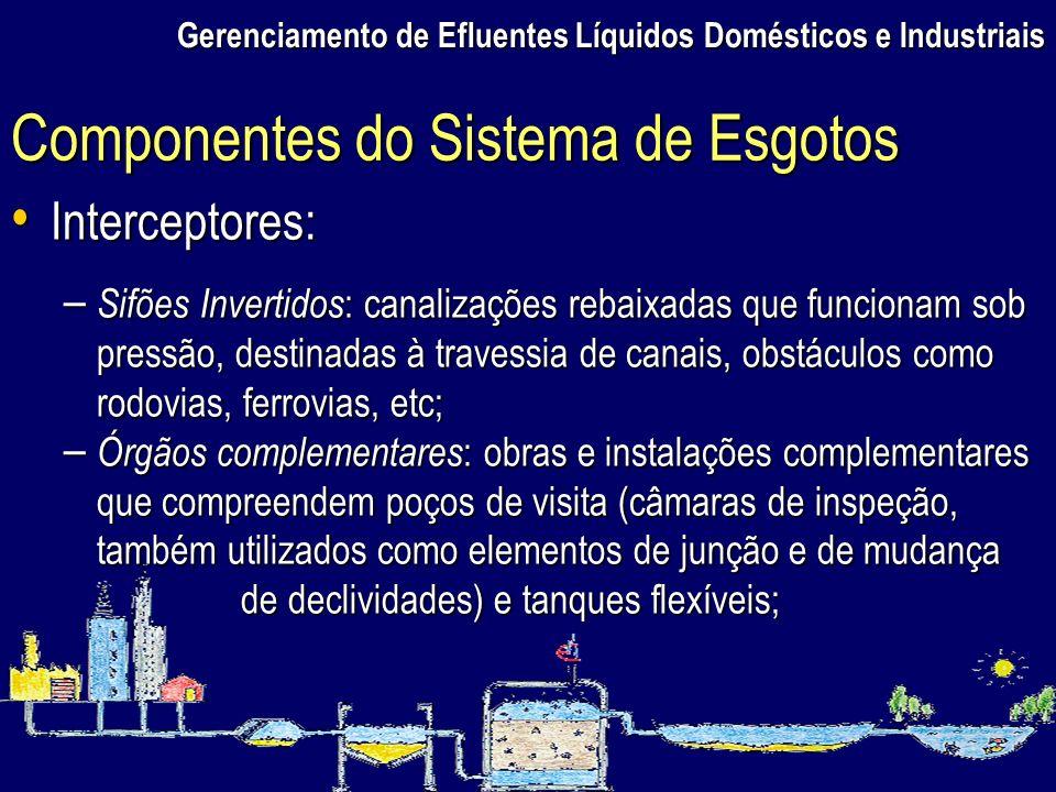 Gerenciamento de Efluentes Líquidos Domésticos e Industriais Interceptores: Interceptores: – Sifões Invertidos : canalizações rebaixadas que funcionam