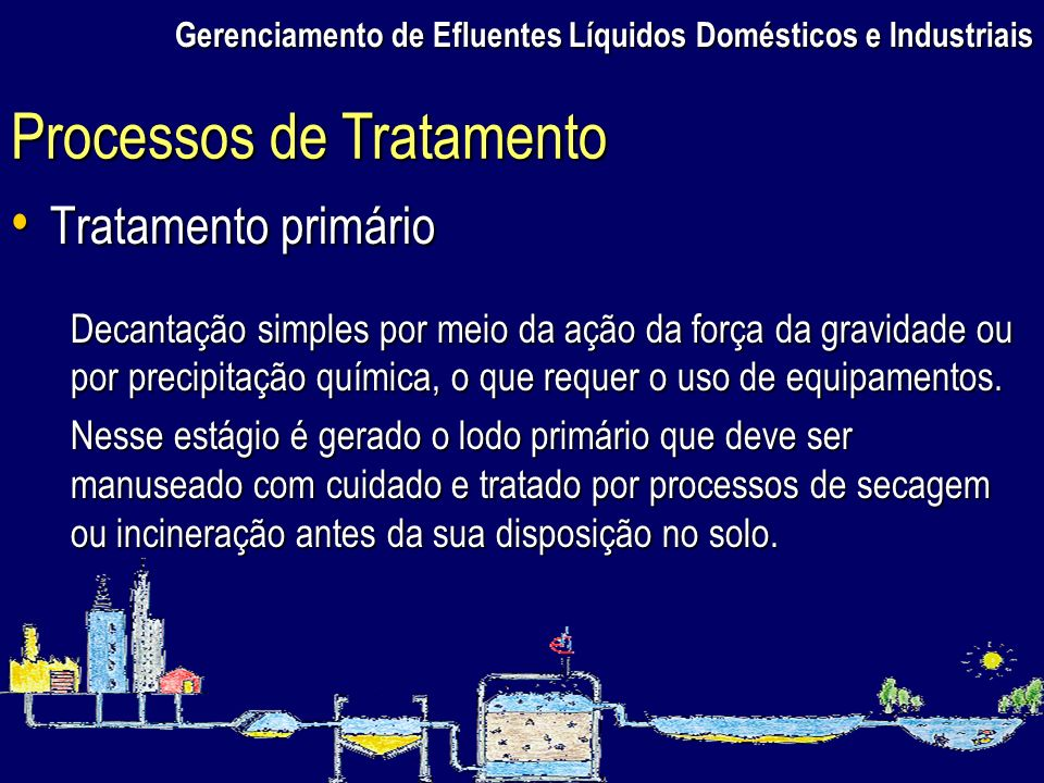 Gerenciamento de Efluentes Líquidos Domésticos e Industriais Tratamento primário Tratamento primário Decantação simples por meio da ação da força da g