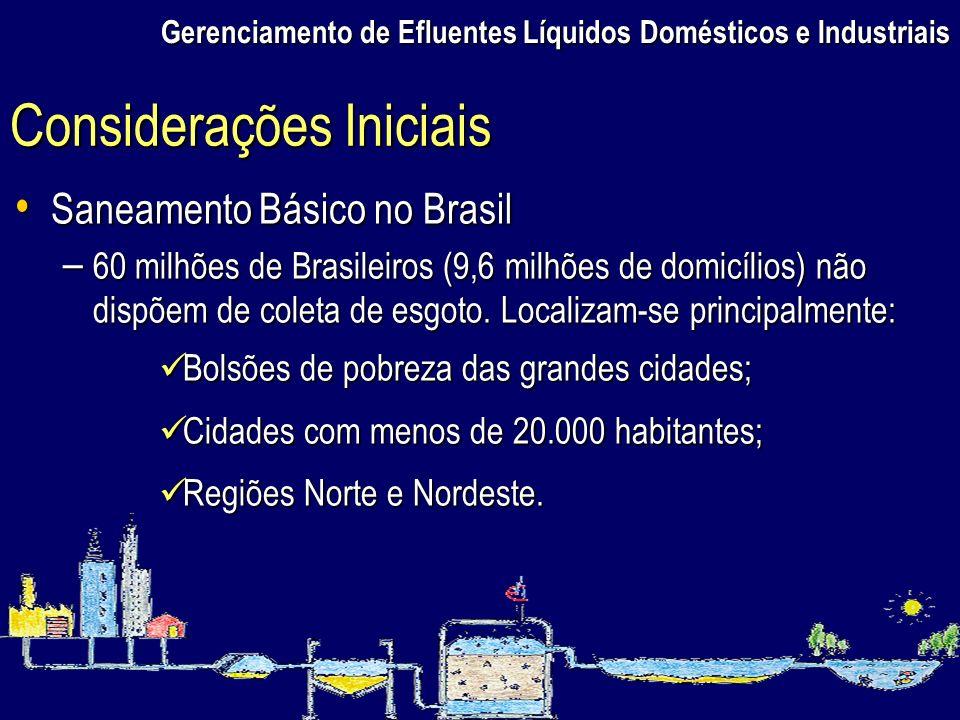 Gerenciamento de Efluentes Líquidos Domésticos e Industriais Saneamento Básico no Brasil Saneamento Básico no Brasil – 60 milhões de Brasileiros (9,6