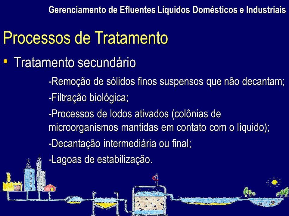 Gerenciamento de Efluentes Líquidos Domésticos e Industriais Tratamento secundário Tratamento secundário Processos de Tratamento -Remoção de sólidos f