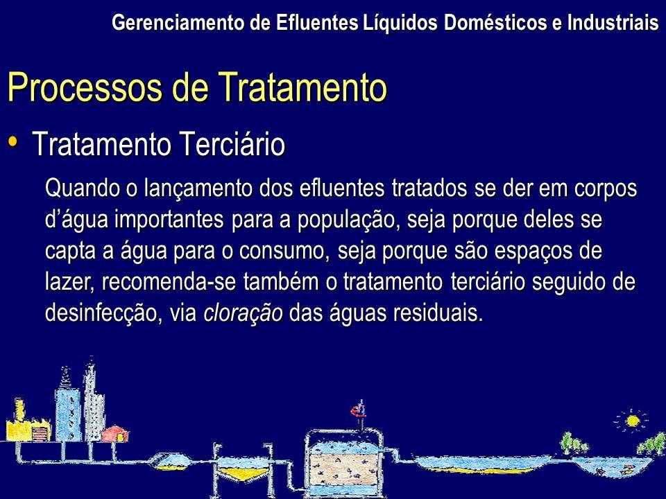 Gerenciamento de Efluentes Líquidos Domésticos e Industriais Tratamento Terciário Tratamento Terciário Processos de Tratamento Quando o lançamento dos