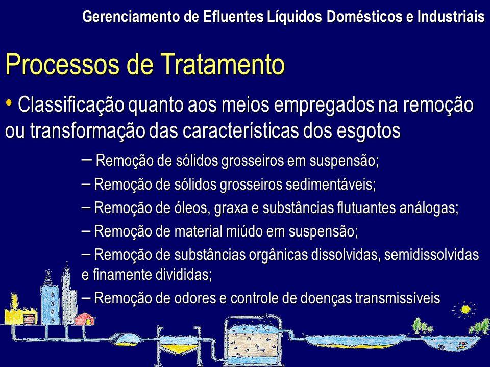 Gerenciamento de Efluentes Líquidos Domésticos e Industriais Classificação quanto aos meios empregados na remoção ou transformação das características