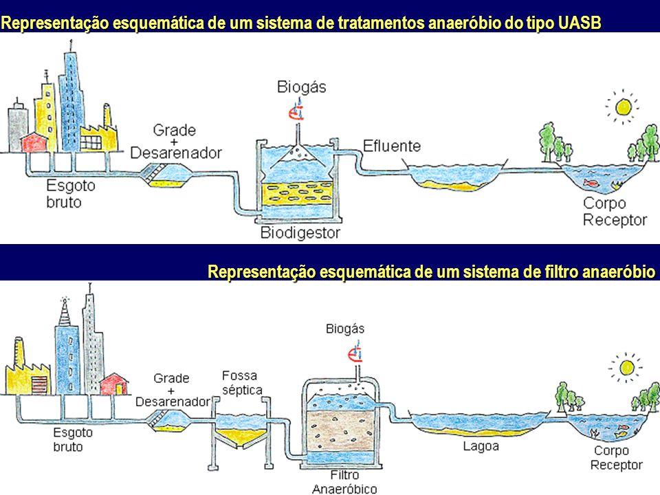 Representação esquemática de um sistema de tratamentos anaeróbio do tipo UASB Representação esquemática de um sistema de filtro anaeróbio