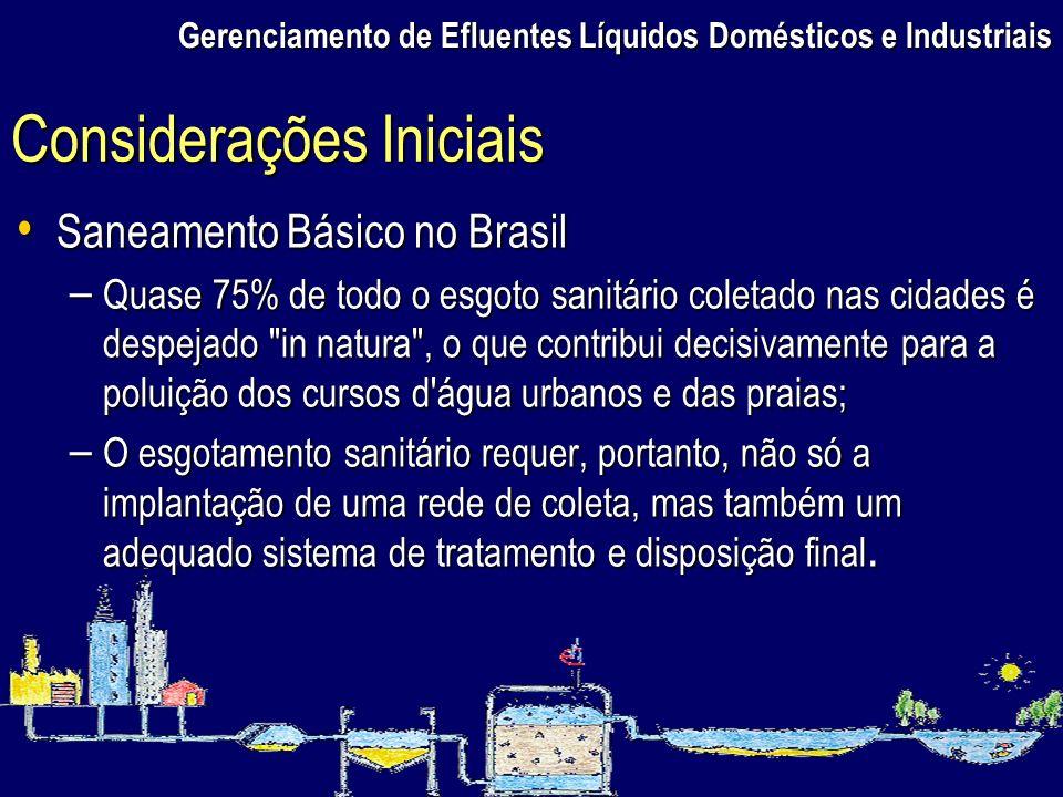 Gerenciamento de Efluentes Líquidos Domésticos e Industriais Saneamento Básico no Brasil Saneamento Básico no Brasil – Quase 75% de todo o esgoto sani