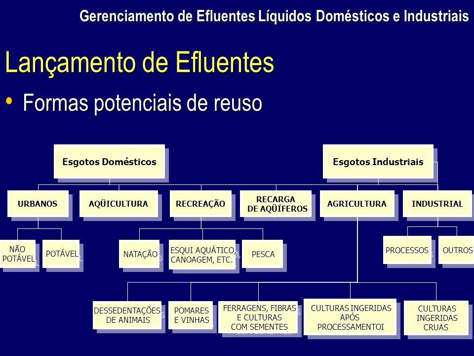 Gerenciamento de Efluentes Líquidos Domésticos e Industriais Esgotos Domésticos Esgotos Industriais URBANOSURBANOSRECREAÇÃORECREAÇÃOAQÜICULTURAAQÜICUL