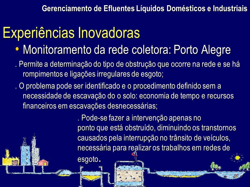 Monitoramento da rede coletora: Porto Alegre Monitoramento da rede coletora: Porto Alegre. Permite a determinação do tipo de obstrução que ocorre na r