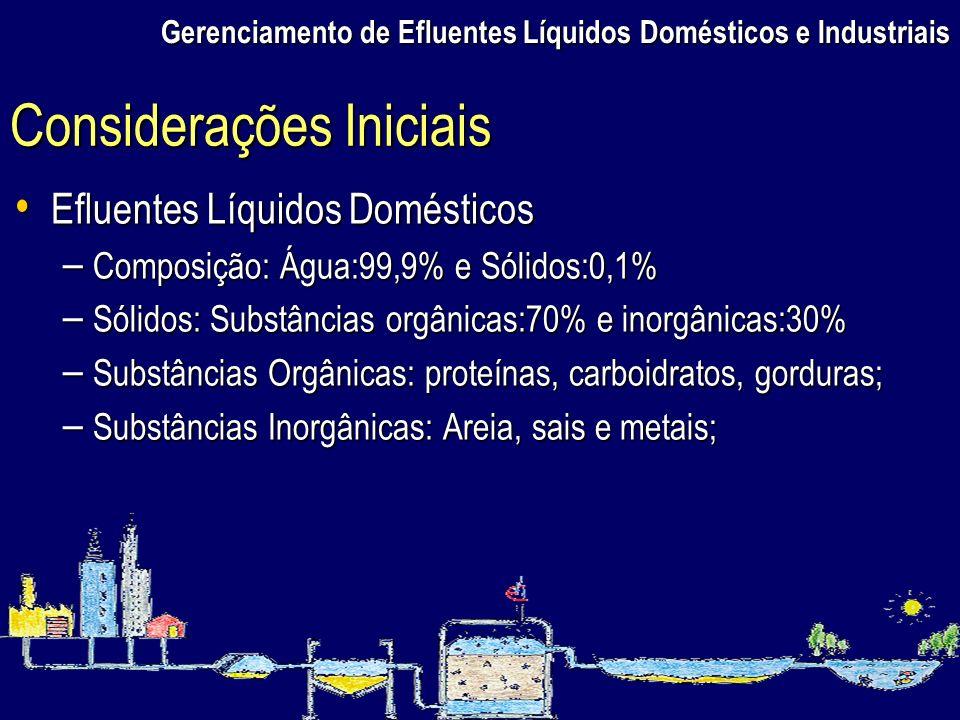 Gerenciamento de Efluentes Líquidos Domésticos e Industriais Efluentes Líquidos Domésticos Efluentes Líquidos Domésticos – Composição: Água:99,9% e Só