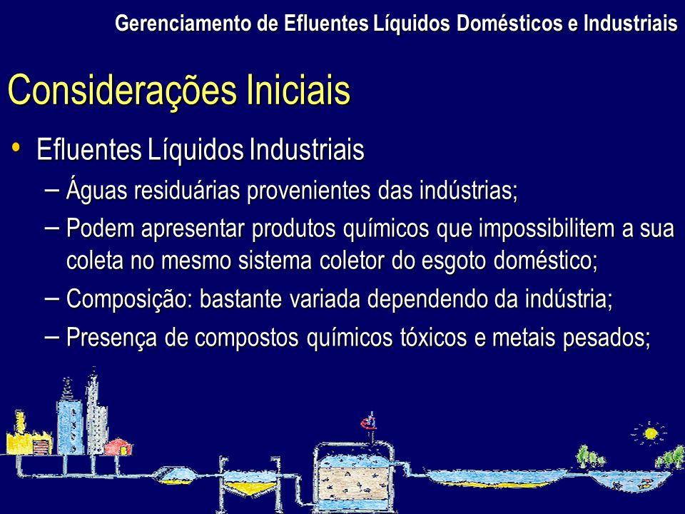 Gerenciamento de Efluentes Líquidos Domésticos e Industriais Efluentes Líquidos Industriais Efluentes Líquidos Industriais – Águas residuárias proveni