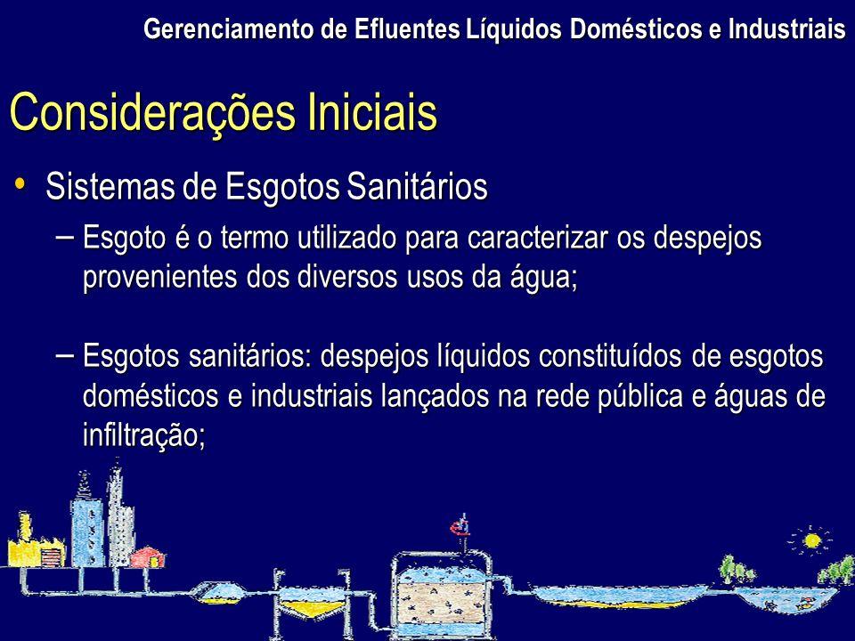 Gerenciamento de Efluentes Líquidos Domésticos e Industriais Sistemas de Esgotos Sanitários Sistemas de Esgotos Sanitários – Esgoto é o termo utilizad