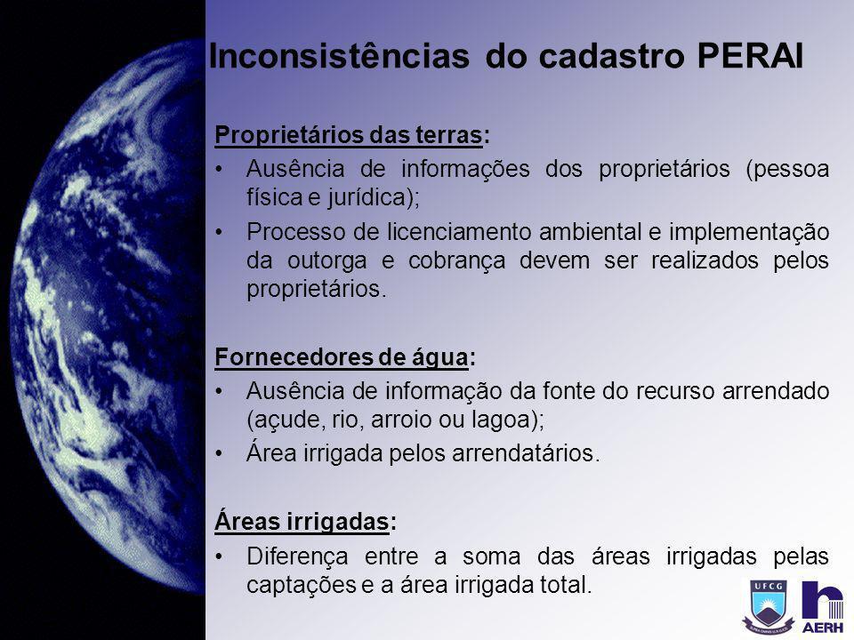 Inconsistências do cadastro PERAI Proprietários das terras: Ausência de informações dos proprietários (pessoa física e jurídica); Processo de licencia