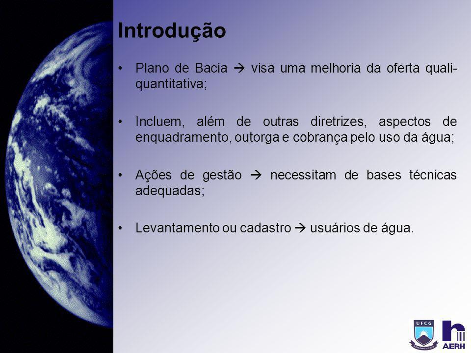 Introdução Plano de Bacia visa uma melhoria da oferta quali- quantitativa; Incluem, além de outras diretrizes, aspectos de enquadramento, outorga e co