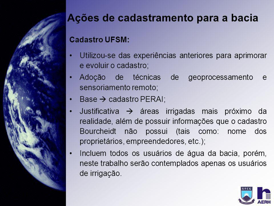 Ações de cadastramento para a bacia Cadastro UFSM: Utilizou-se das experiências anteriores para aprimorar e evoluir o cadastro; Adoção de técnicas de