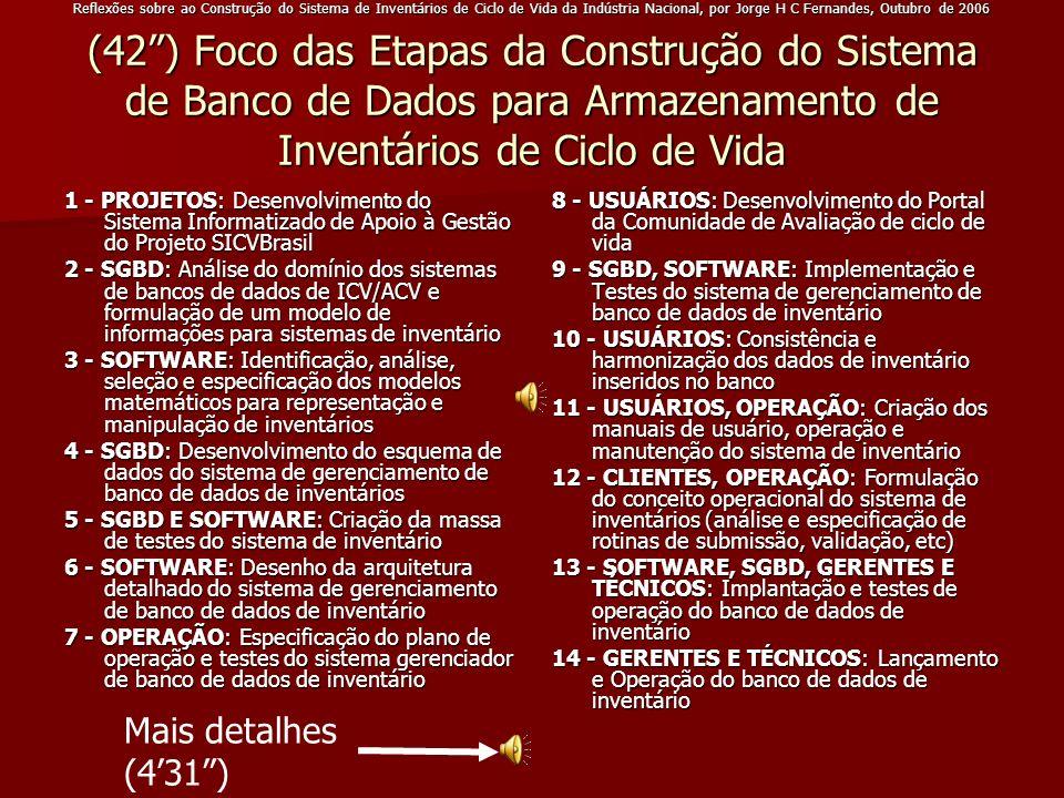 Reflexões sobre ao Construção do Sistema de Inventários de Ciclo de Vida da Indústria Nacional, por Jorge H C Fernandes, Outubro de 2006 (42) Foco das
