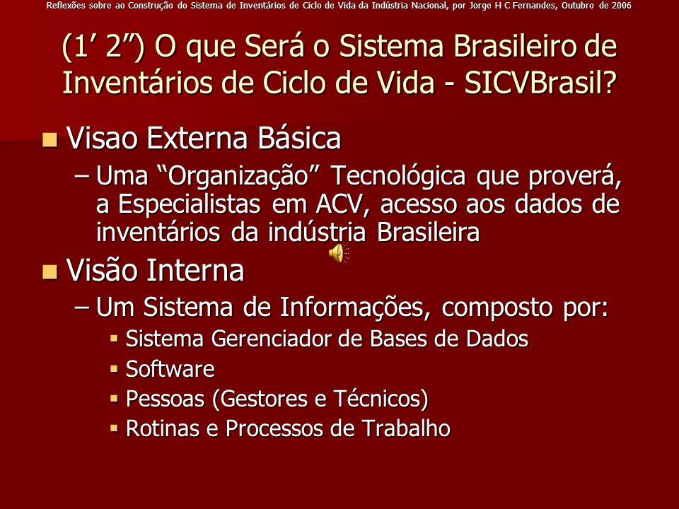 Reflexões sobre ao Construção do Sistema de Inventários de Ciclo de Vida da Indústria Nacional, por Jorge H C Fernandes, Outubro de 2006 (1 2) O que S
