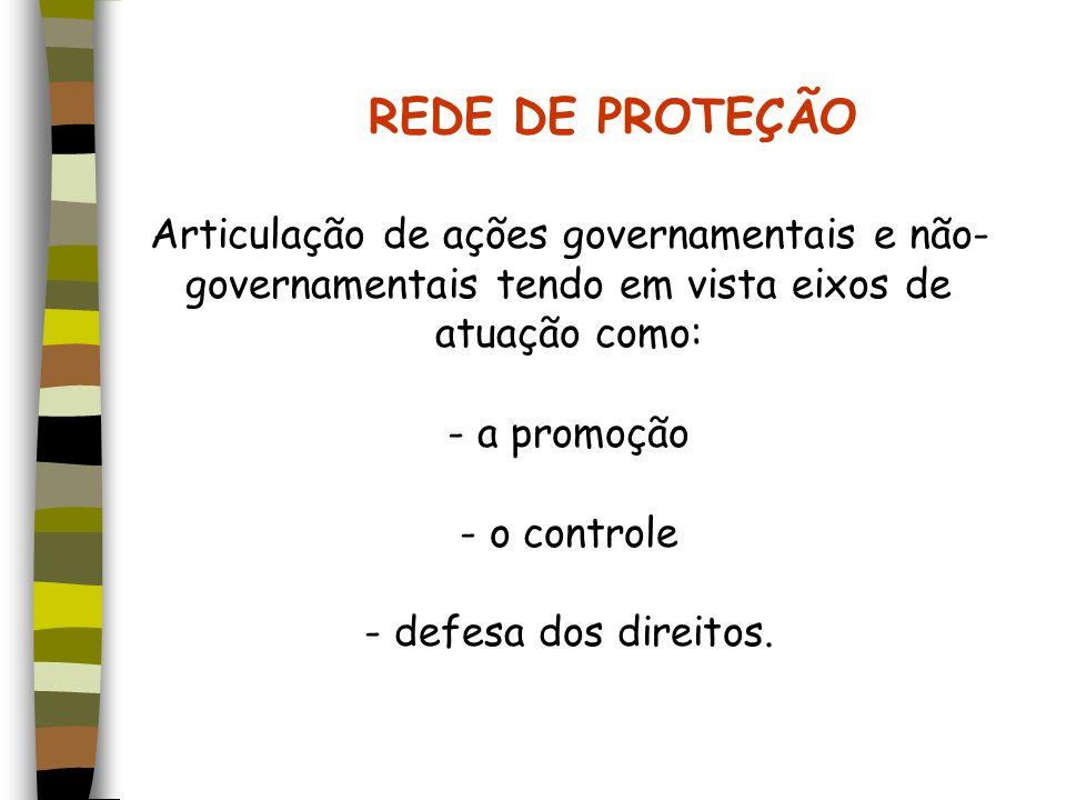 REDE DE PROTEÇÃO Articulação de ações governamentais e não- governamentais tendo em vista eixos de atuação como: - a promoção - o controle - defesa do