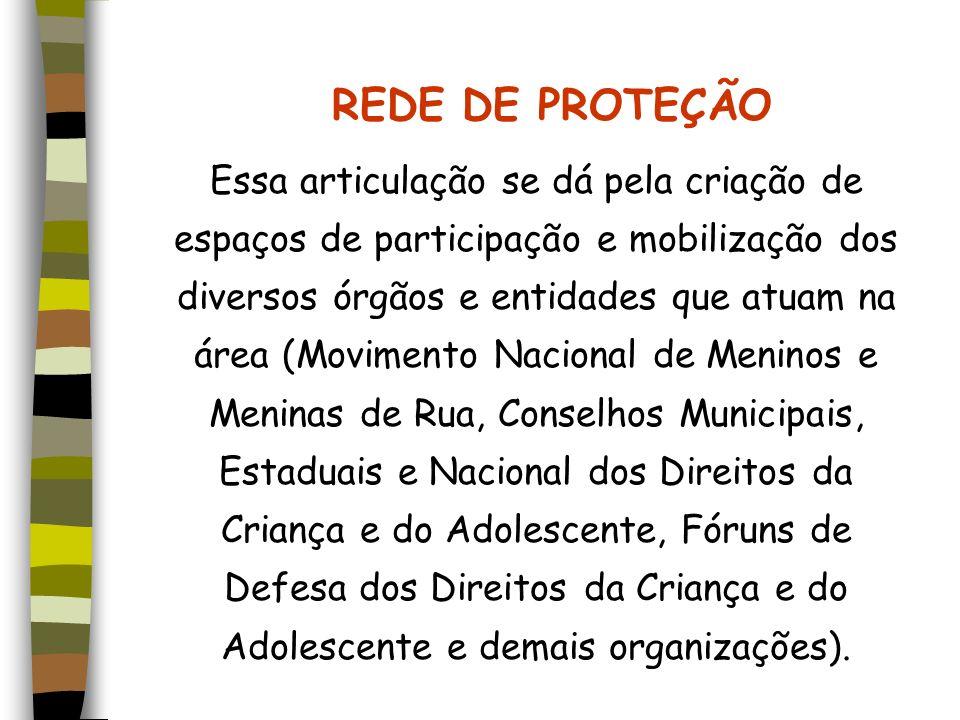 REDE DE PROTEÇÃO Essa articulação se dá pela criação de espaços de participação e mobilização dos diversos órgãos e entidades que atuam na área (Movim
