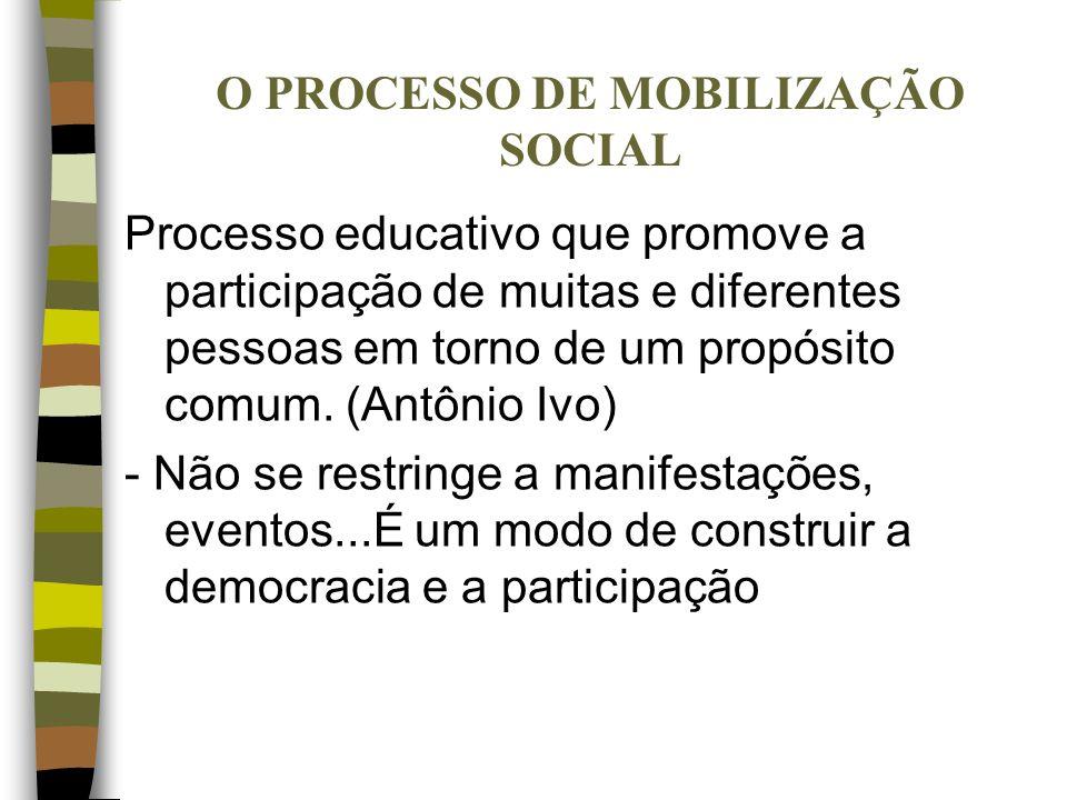 O PROCESSO DE MOBILIZAÇÃO SOCIAL Processo educativo que promove a participação de muitas e diferentes pessoas em torno de um propósito comum. (Antônio