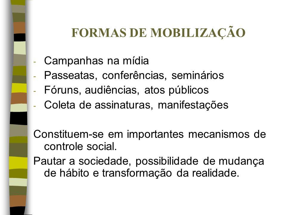 FORMAS DE MOBILIZAÇÃO - Campanhas na mídia - Passeatas, conferências, seminários - Fóruns, audiências, atos públicos - Coleta de assinaturas, manifest