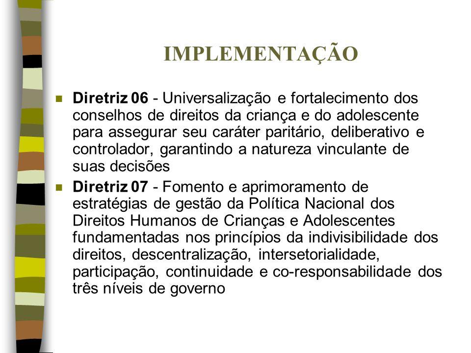 IMPLEMENTAÇÃO n Diretriz 06 - Universalização e fortalecimento dos conselhos de direitos da criança e do adolescente para assegurar seu caráter paritá
