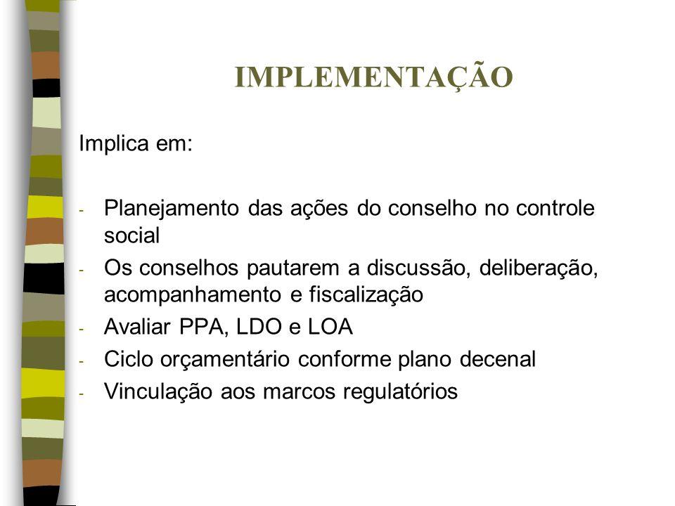 IMPLEMENTAÇÃO Implica em: - Planejamento das ações do conselho no controle social - Os conselhos pautarem a discussão, deliberação, acompanhamento e f