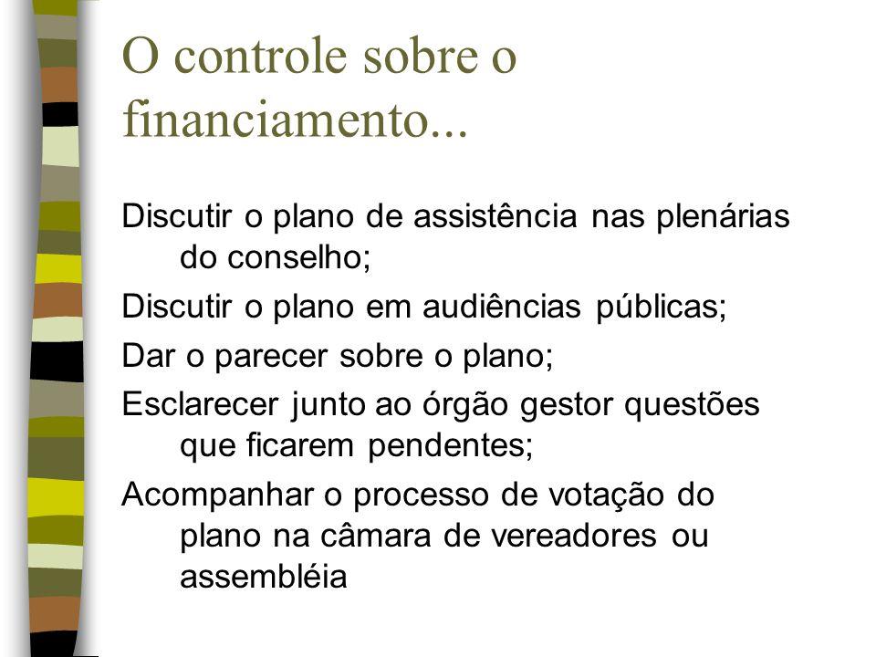 O controle sobre o financiamento... Discutir o plano de assistência nas plenárias do conselho; Discutir o plano em audiências públicas; Dar o parecer
