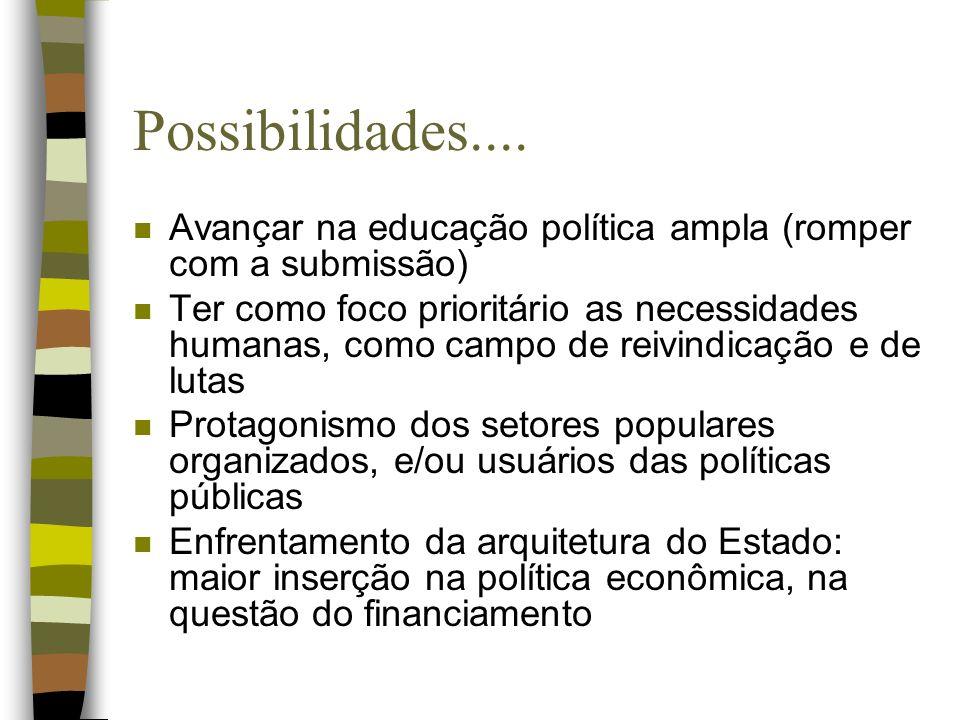 Possibilidades.... n Avançar na educação política ampla (romper com a submissão) n Ter como foco prioritário as necessidades humanas, como campo de re