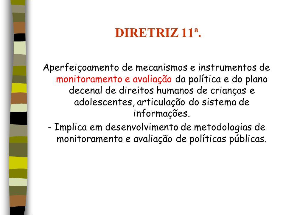 DIRETRIZ 11ª. Aperfeiçoamento de mecanismos e instrumentos de monitoramento e avaliação da política e do plano decenal de direitos humanos de crianças