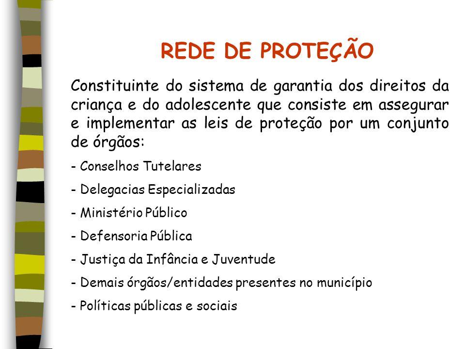 REDE DE PROTEÇÃO Constituinte do sistema de garantia dos direitos da criança e do adolescente que consiste em assegurar e implementar as leis de prote