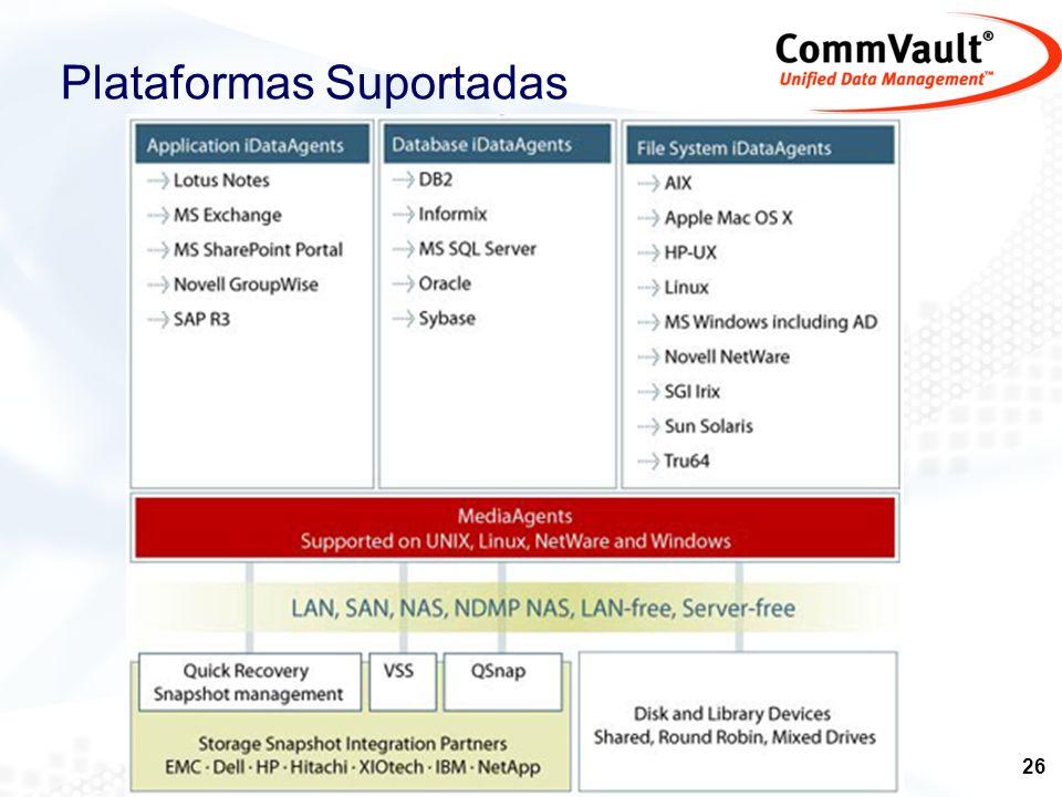 27 ADIC ATL Compaq Dell Exabyte SUN HP Tandberg StorageTek IBM Hitachi DLT4000/7000/8000/SDLT 8mm XL AIT2 AIT Mammoth Mammoth2 DDS2 DDS3 DDS4 LTO Ultrium STK9840 / STK9940 LibraryMedia Amplo suporte a bibliotecas e drives