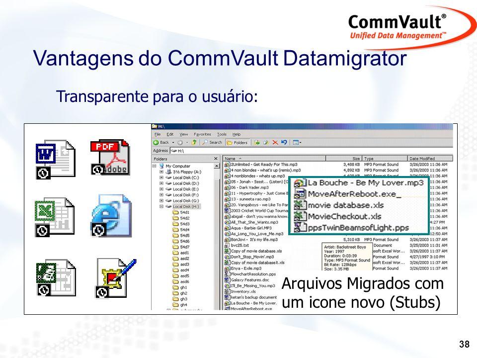 39 Vantagens do CommVault Datamigrator