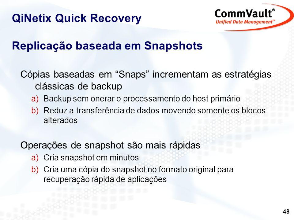 49 Snaps & QiNetix Capacidade de múltiplos snaps em uma plataforma única QR, Image Level, Proxy Host Emprega os recursos de snap existentes Hardware providers VSS CommVault QSnap Suporte a snapshot de terceiros Integração com aplicações assegura recuperação consistente Oracle MS SQL Server Exchange WinFS Aplicações de terceiros Gerenciamento robusto de snapshot Agendamento, retensão, visualização – idêntico ao backup.
