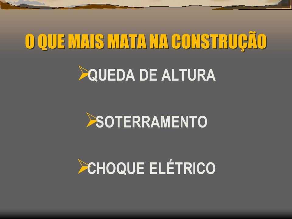 O QUE MAIS MATA NA CONSTRUÇÃO QUEDA DE ALTURA SOTERRAMENTO CHOQUE ELÉTRICO